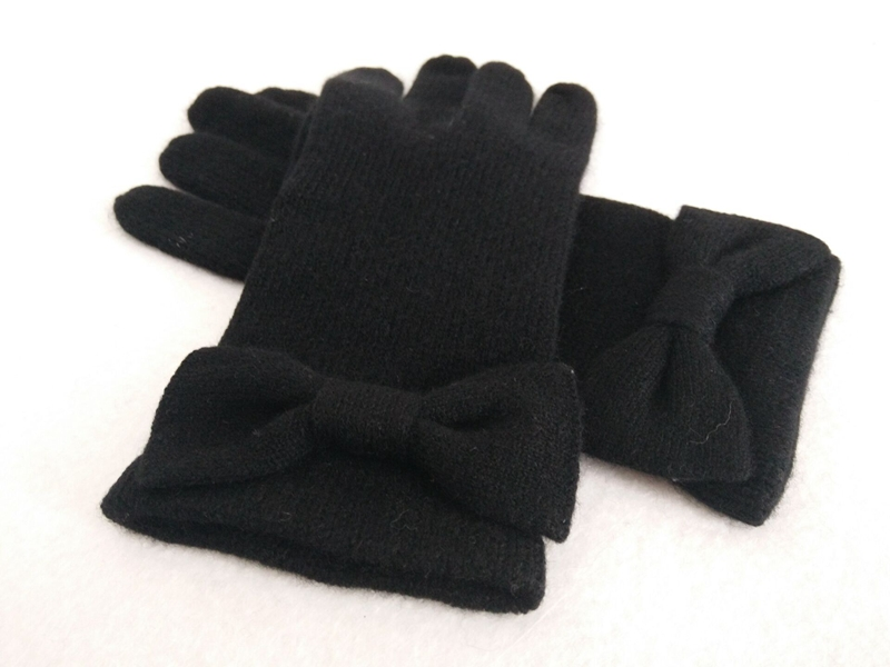 Bowknot Knitted Cashmere Gloves for Women