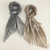 Water Soluble 100% Wool Plain Scarf with Silver Tassels