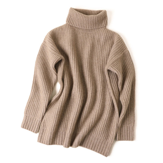 Rib Knitted Turtle Neck Cashmere Sweater
