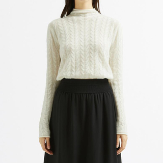 Cable Knitted Turtleneck Cashmere Sweater