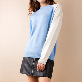 Plain Knit Crew Neck Cashmere Sweater