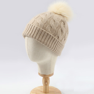 Ladies Cable Knitted Cashmere Beanie