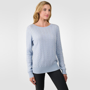 Cable Knitted Round Neck Cashmere Sweater
