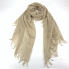 Cashmere Tassels Plain Muffler Shawl, Light Beige
