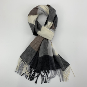 Cashmere Checked Scarf with Twill Weave, Coffee&White