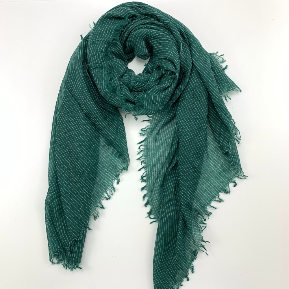 Cashmere Ultra Thin Striped Shawls, Green