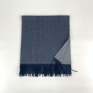 Cashmere Small Double Side Shawls, Dusty Blue&Cream
